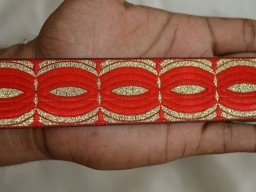 Brocade Jacquard Ribbon in Red and Metallic