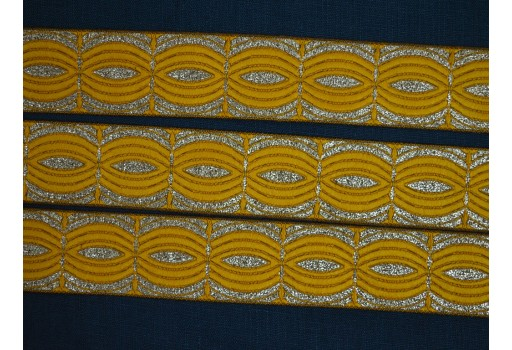 New unique design stunning lace yellow and metallic gold weaving sewing border christmas supplies embellishments designing ribbon for decoration