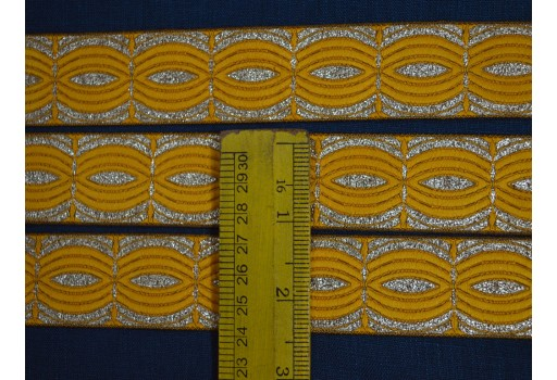 1.2 Inch wide Wholesale Indian Trim Saree Border Jacquard Border Jacquard Lace Jacquard Trim By 9Yard Dress Border Leaves Pattern in Yellow and Metallic Gold Weaving Border