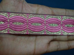 Bubblegum pink crafting decorative jacquard trim by 2 yard sewing trimming brocade dancer dresses costume border metallic ribbon for designer waist belt