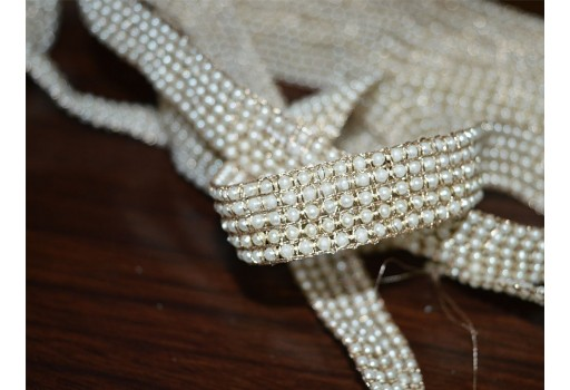 Wholesale Beaded Pearl Trim Sari Border Wedding Lehenga Decorative Costume Sewing Supply for Indian Dresses Embellishment Lace By 9 Yard