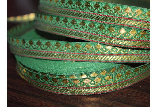Wholesale green hand loom border with gold zari trim lace traditional metallic thread design sew lace ribbon gift wrap by 9 yards