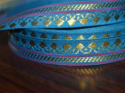 Blue hand loom border with gold zari Trim