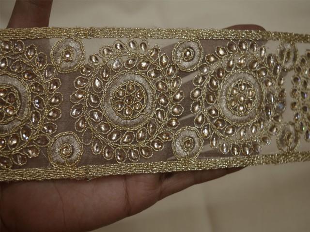 Golden Kundan Lace With Glass Bead Designer Fancy Beaded Border