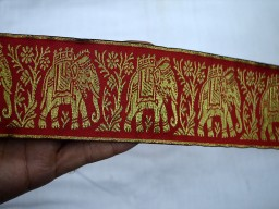 Red elephant designer trim by 4 yard beautiful stunning jacquard ribbon brocade wedding wears and dresses machine stitched lace for wedding wears
