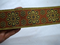 Brown Trim Indian Sari Border