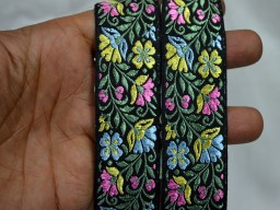 Pink small floral jacquard trim by 2 yard designer stylish blouse slips beautiful stunning border christmas sewing crafting accessories for festive wears and dresses ribbon