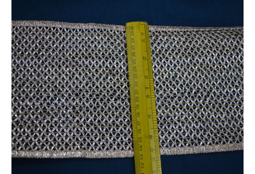 Saree Border Silver Gota woven Wide Trim