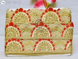 Christmas trimming red gold kundan decorative indian ribbon metallic beaded embellishment border trim by the yard crafting accessories wedding wear dresses home decor stylish dupatta sewing fancy costumes designing lace