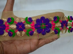 Embroidered decorative indian fabric tape christmas trimmings trim by 2 yard magenta blue fancy dresses traditional designing home decor beautiful embellishment accessories stylish dupatta border saree crafing ribbon