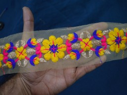 Yellow Blue Magenta and Gold Embroidered designer Trims on Net Fabric