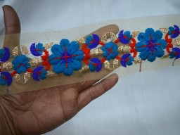Blue Red and Dull Gold Embroidered designer Trims on Net Fabric