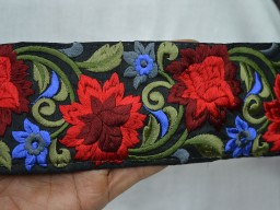 Wholesale Trims Silk Embroidered Ribbon