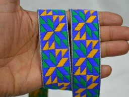 Brocade Jacquard Ribbon in Multi Color Weaving Border Lace Trim be hand sewn or machine stitched Trim By 9 Yard