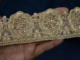 Gold Kundan Trim Stone Work Sari Border