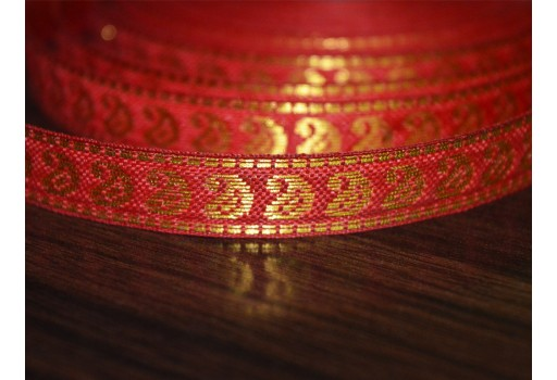 0.5 Inch wide Wholesale Red Paisley Pattern Jacquard Trim 0.5 Inch Trim Supplies Traditional Metallic Thread Design Sew Lace ribbon gift wrap by 9 yard