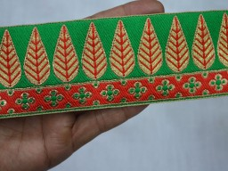2.2 Inch wide Wholesale Brocade Trim Jacquard Trims By 9 Yard Decorative Craft Ribbon Indian Sewing Lace Sari Border Trimmings Leaf Jacquard Border Lace