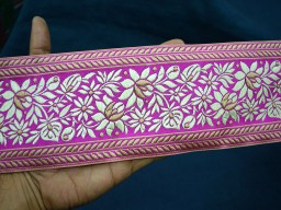 Beautiful stunning wholesale lace and jacquard trim by 9 yard sari border decorative sewing trimming designer roses in ivory beige on magenta clothing accessories crafting home decor wedding dresses craft ribbon