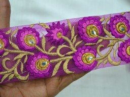 Purple Embroidered Designer Trims On Net Fabric Stunning Beautiful Lace Is Great For Any Sewing And Craft Projects
