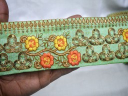 """3.3"""" Yellow Decorative Trim By The Yard Indian Embroidered Embellishments Crafting Ribbon Home Decor Clothing Accessories Christmas Supplies For Fancy Sari Borders"""