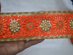 Orange Peach Beige Embroidered designer Trims on net Fabric