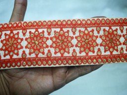 Decorative Indian Sari Border Trim Silk Embroidered Ribbon