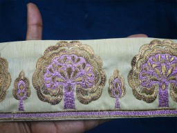 3.5 Inch wide Lavender Wholesale Indian Sari Border By 9 Yard Silk Embroidered Ribbon Decorative Tree Trims Sewing fabric Lace embellishments Craft Ribbon