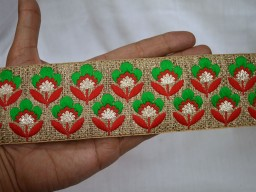 2.3 Inch wide Wholesale Indian Sari Border Embroidered Sewing Fabric Trim Indian Laces and Trims Costume Trim By 9 Yard Decorative Trim