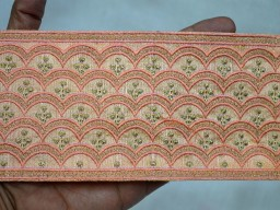 Peach and gold embroidery designer fabric trims on silk fabric wholesale saree border by 9 yard trimmings ribbon gold trim designer tunics festive wear wedding wear and dresses