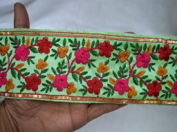 Magenta Red Green Mustard Yellow Wholesale Indian Sari Border Craft Ribbon Sewing Trim Pistachio Green Embroidered Decorative Trim By 9 Yard 3 inch wide Trimming Costume Fashion trim