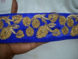 Blue Gold finish Gota Wide Trim Costume Trim