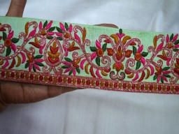 3 inch wide Wholesale Multicolor Embroidered Ribbon Sewing Trims Indian Sari Border Mint Green Costume Decorative Trims Craft Ribbon Laces By 9 Yard