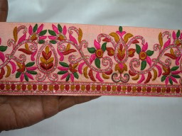 3 inch wide Wholesale Peachy Pink Decorative Trims Craft Ribbon Trim By 9 Yard Embroidered Ribbon Sewing Trims Indian Sari Border Trimmings Fabric Trim