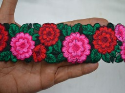 Indian Laces and Trims Floral Embroidered Multicolor Trim