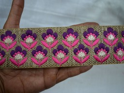 2.3 Inch wide Wholesale Decorative Trim Indian Sari Border Fabric Trim Embroidered Sewing Indian Laces and Trims Costume Trim By 9 Yard Trims on Jute base fabric