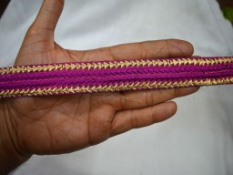 Purple and Gold Wholesale Decorative Purple Embroidered Sari border 1 Inch wide Ribbon And Trim Fabric And Embellishments Trim By 9 Yard Fashion Tape Trimmings