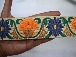 Orange Steel Blue Wholesale Fabric Trim By 9 Yard Costume Lace Trims Indian Sari Border 2 Inch wide Embroidered Sewing Trim Decorative Floral Ribbon Christmas Trimmings