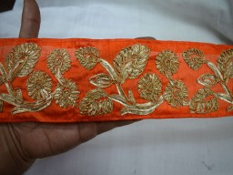 Embellishment Border Orange Gold finish Gota Wide Trim