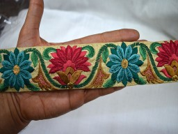 2 Inch wide Wholesale Fabric Trim By 9 Yard Indian Lace Rosewood Red, Peacock Green Green Brown and Gold Sari Border Embroidered Costume Sewing Trim Decorative Floral Ribbon Dress Trimming