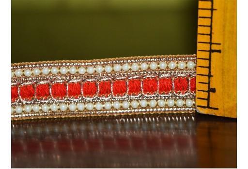 Red Beaded Pearl Trim and Ribbion Sari Border Trim