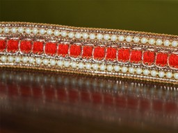 Red Beaded Pearl Trim and Ribbion Sari Border Trim