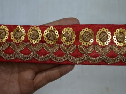 Red and Gold Embroidered designer Trims on with sequences