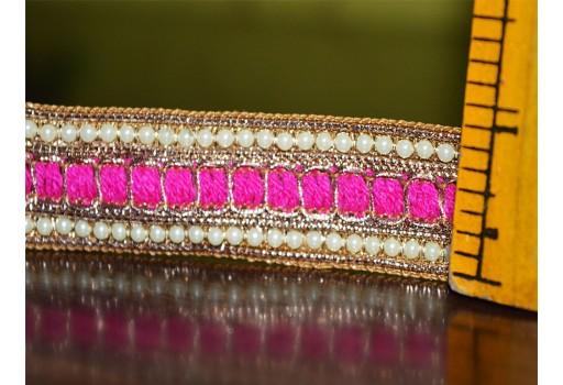 Hot Pink Beaded Pearl Trim and Ribbion Sari Border Trim