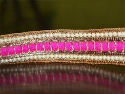 Hot Pink Beaded Pearl Trim and Ribbion Sari Border Trim