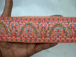 2.3 Inch wide Wholesale Indian Laces and Trims Peachy Pink Saree Border Fabric Trim By 9 Yard Embroidered Trimmings Indian Sari Border gold indian trim