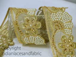 Dull Gold Kundan Lace Decorative Sari Border Trim