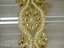 Border Ribbon and Beaded Trims Dull Gold Kundan Lace Stone Work