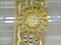 Gold Kundan Lace Trimmings Embellished Mirror work