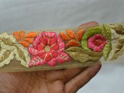 Beige and Gold Embroidered designer Trims on Beige net Fabric