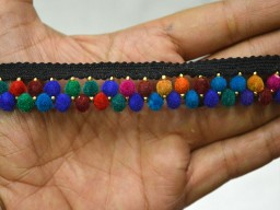 Indian Trims in Multicolor Velvet Beaded lace